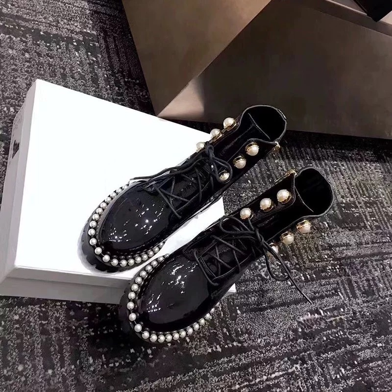 pearl leather boots