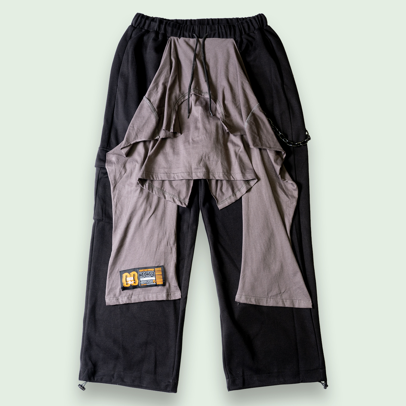 REWORK SWEAT CARGO PANTS - GRAY/BLACK