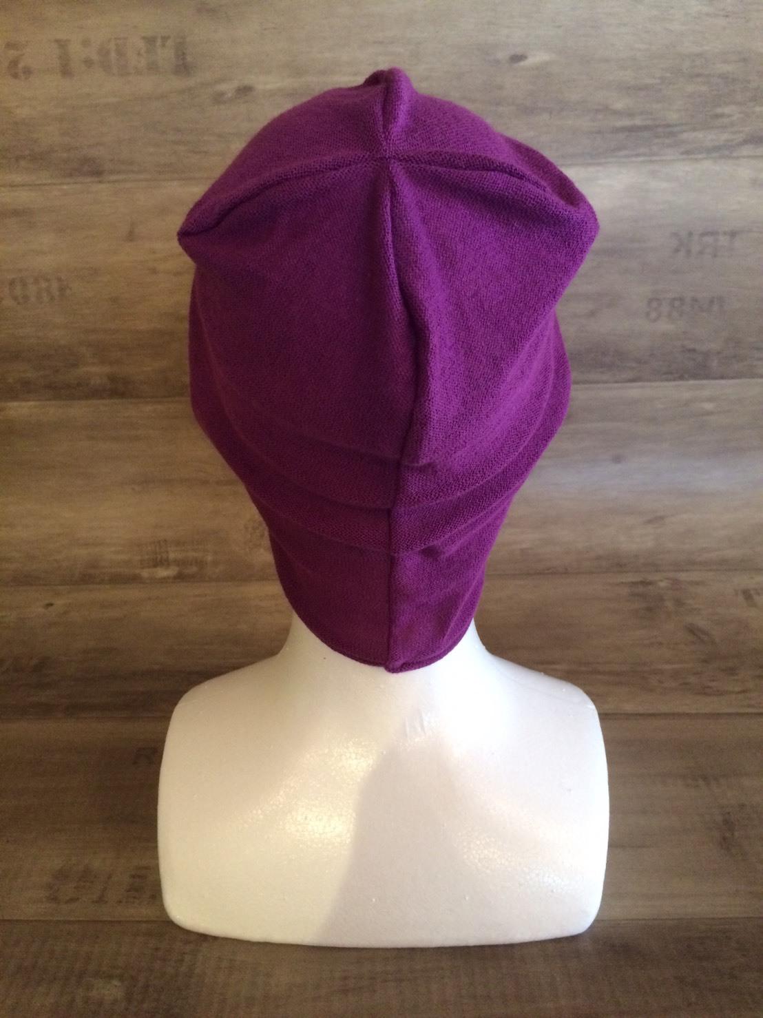 【送料無料】こころが軽くなるニット帽子amuamu 新潟の老舗ニットメーカーが考案した抗がん治療中の脱毛ストレスを軽減する機能性と豊富なデザイン NB-6060 京紫(きょうむらさき) - 画像2