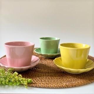 Colorful Color カップ&ソーサー3個セット(CUTE ピンク・イエロー・ピスタチオグリーン)