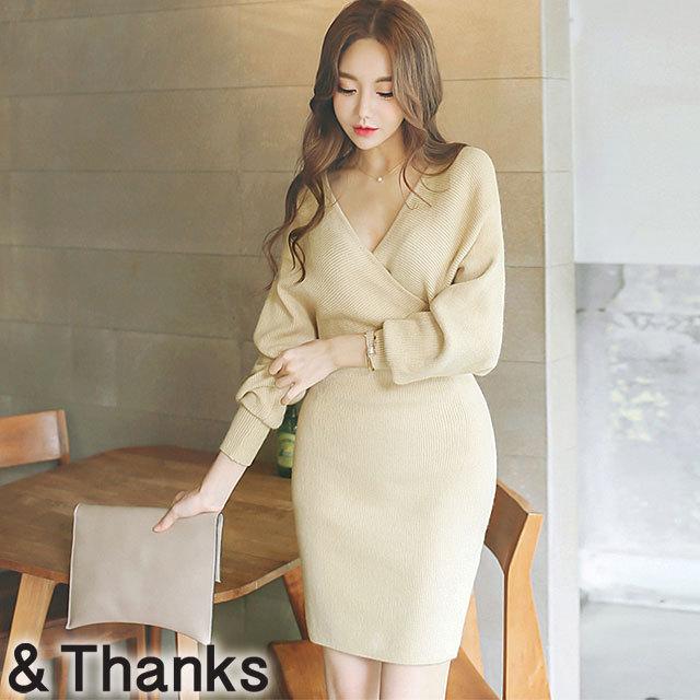 エレガント ニットワンピースドレス 1カラー 4サイズ