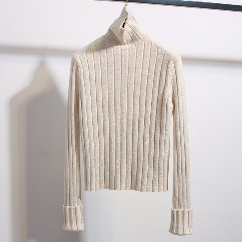 ラメニット ショート丈 フラッシュ タートルネック セーター 長袖