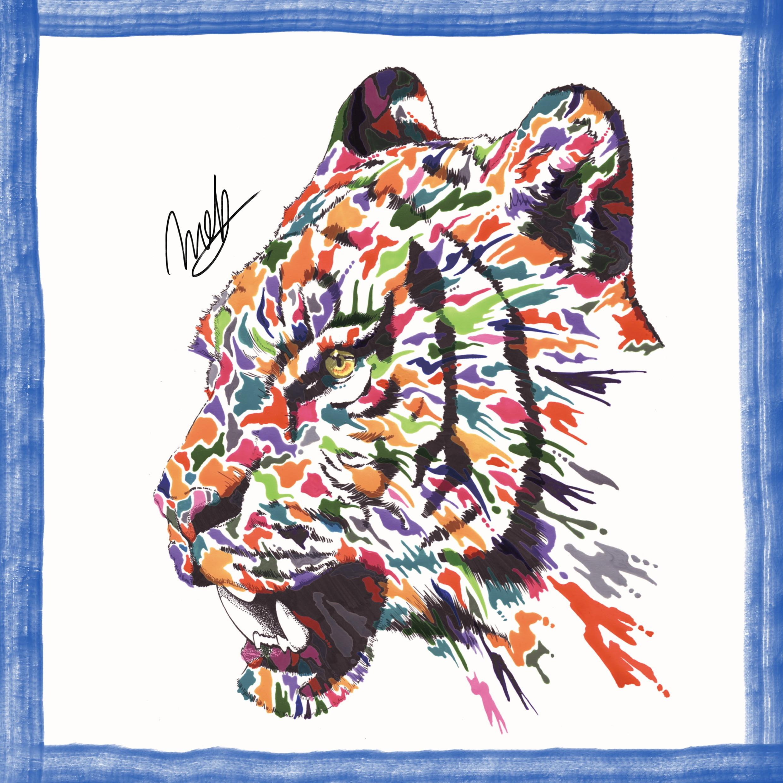 絵画 インテリア アートパネル 雑貨 壁掛け 置物 おしゃれ 虎 タイガー 現代アート ロココロ 画家 : nob 作品 :  tig