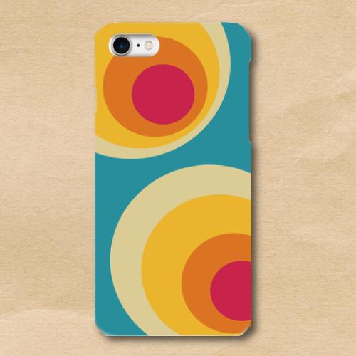 レトロポップ/青系色/黄/橙/水玉/iPhoneスマホケース(ハードケース)