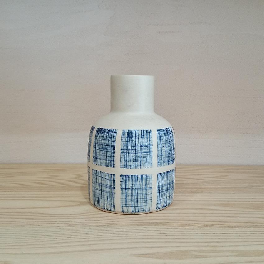 陶器 チェックブルー ラウンド