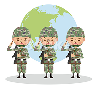 イラスト素材:銃を担いで敬礼する自衛官・軍人/3人・地球バック(ベクター・JPG)