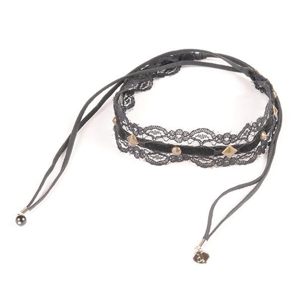 df17AW-J05 LETHER CODE STUDS CHOKER (black)