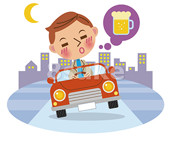 イラスト素材:飲酒運転イメージ/背景あり(ベクター・JPG)