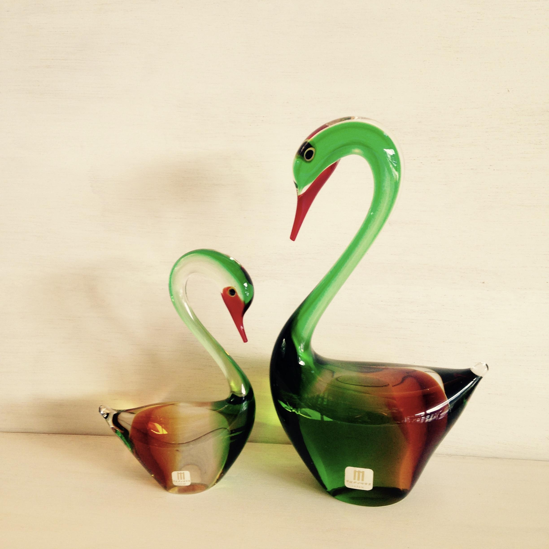 水鳥親子 ガラスオーナメント(マルティガラス)