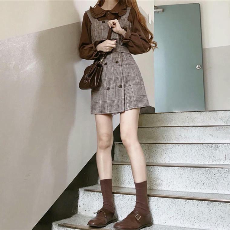 【送料無料】cuteな セットアップ ♡ 2点セット ガーリー チェック柄 ジャンパースカート ワンピース × フリル ブラウス
