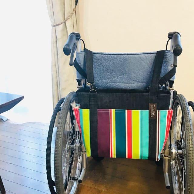 【車椅子対応】フランスSTOF社のマルチストライプ×デニムの4つポケットトート