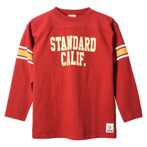 STANDARD CALIFORNIA #SD Heavyweight Football Long Sleeve T Red