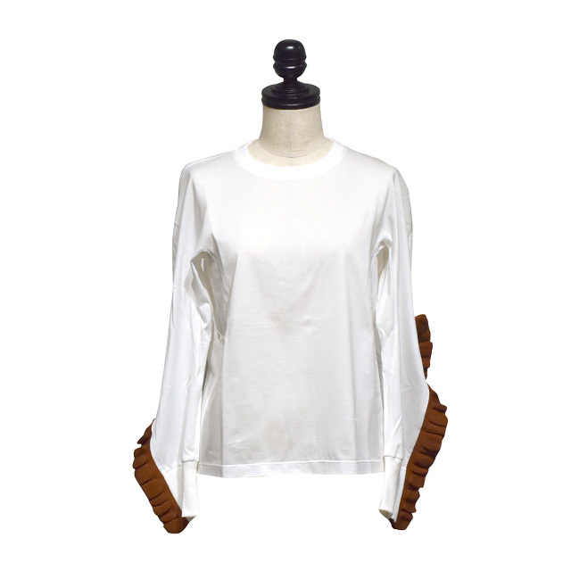 NAIFE™ / Frilled slit long T-shirts / White