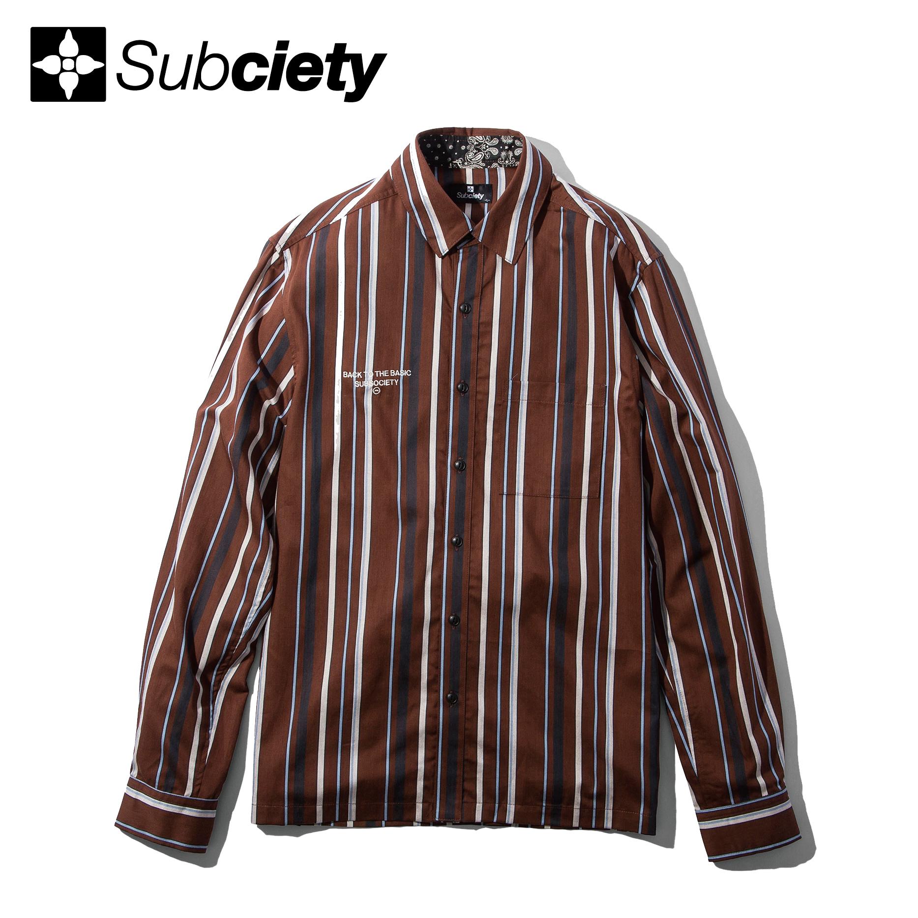 【送料無料】Subciety(サブサエティ)   STRIPE SHIRT(Brown)