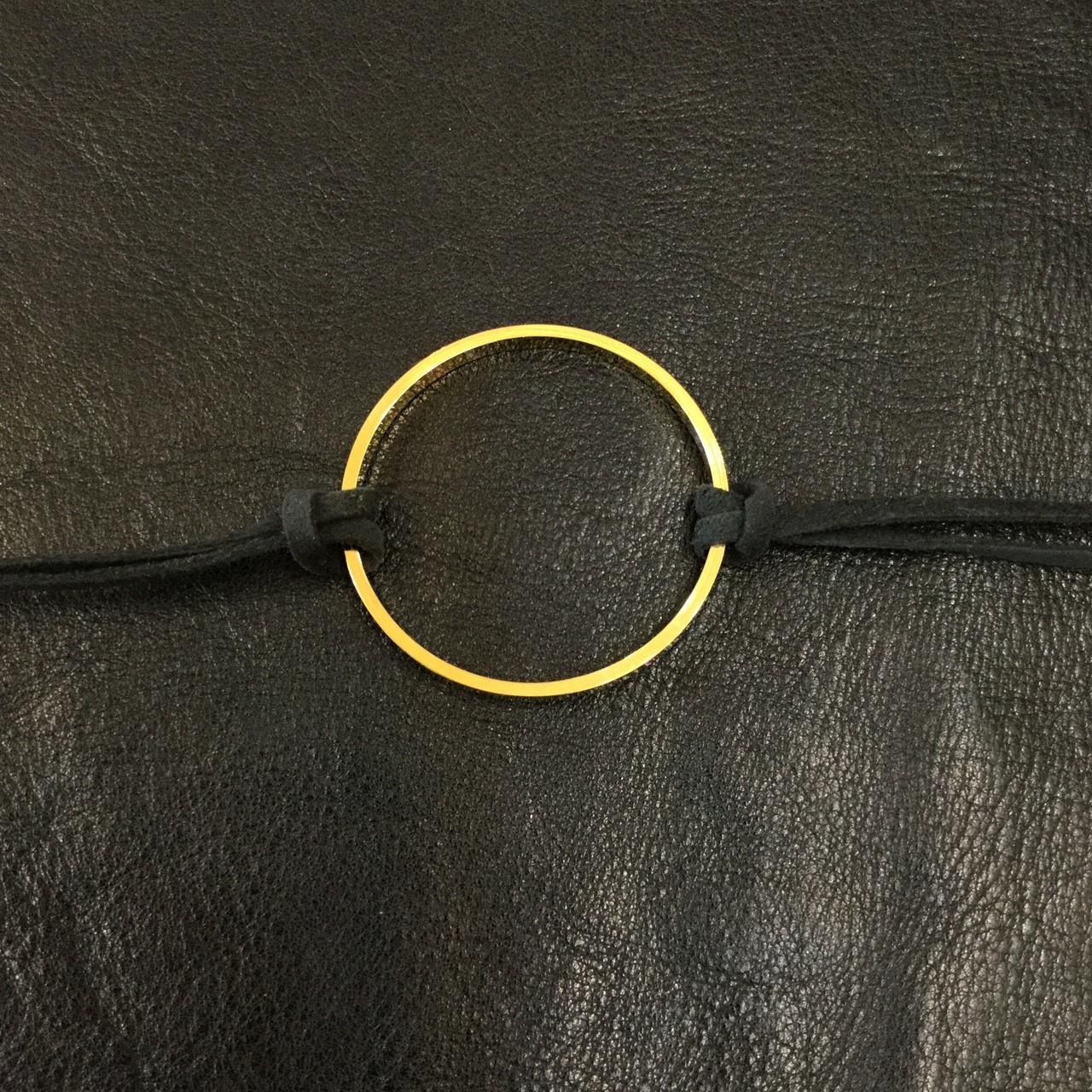 JGAC-065 LEATHER CORD CHOKER - CIRCLE(gold)