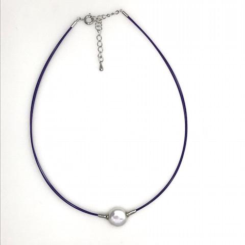 コインパールワイヤー(紫)ネックレス