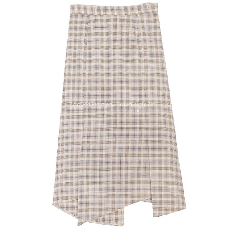 【即納】ハイウエストチェックロングスカート