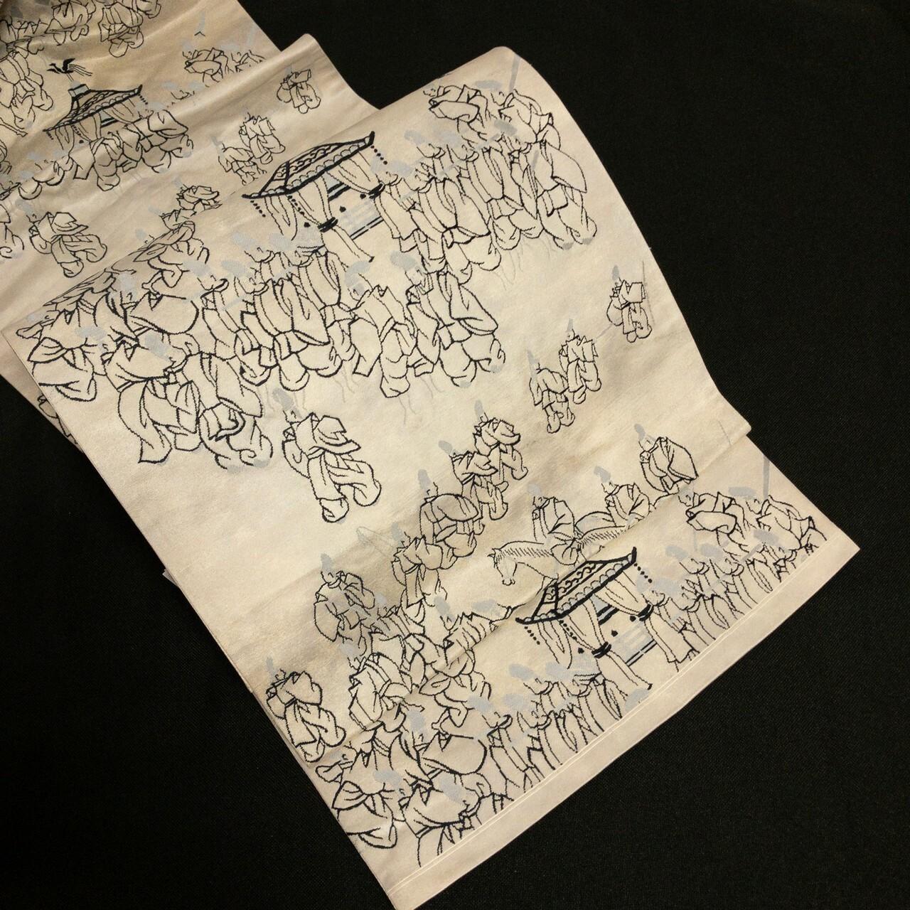 袋帯 シャイニー洒落袋 六通 ライトグレー地色に黒・グレー葵祭風織出し
