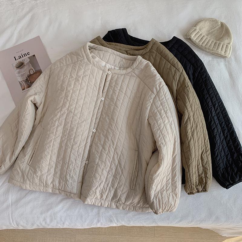 〈カフェシリーズ〉ラウンドネックコットンジャケット【round neck cotton jacket】