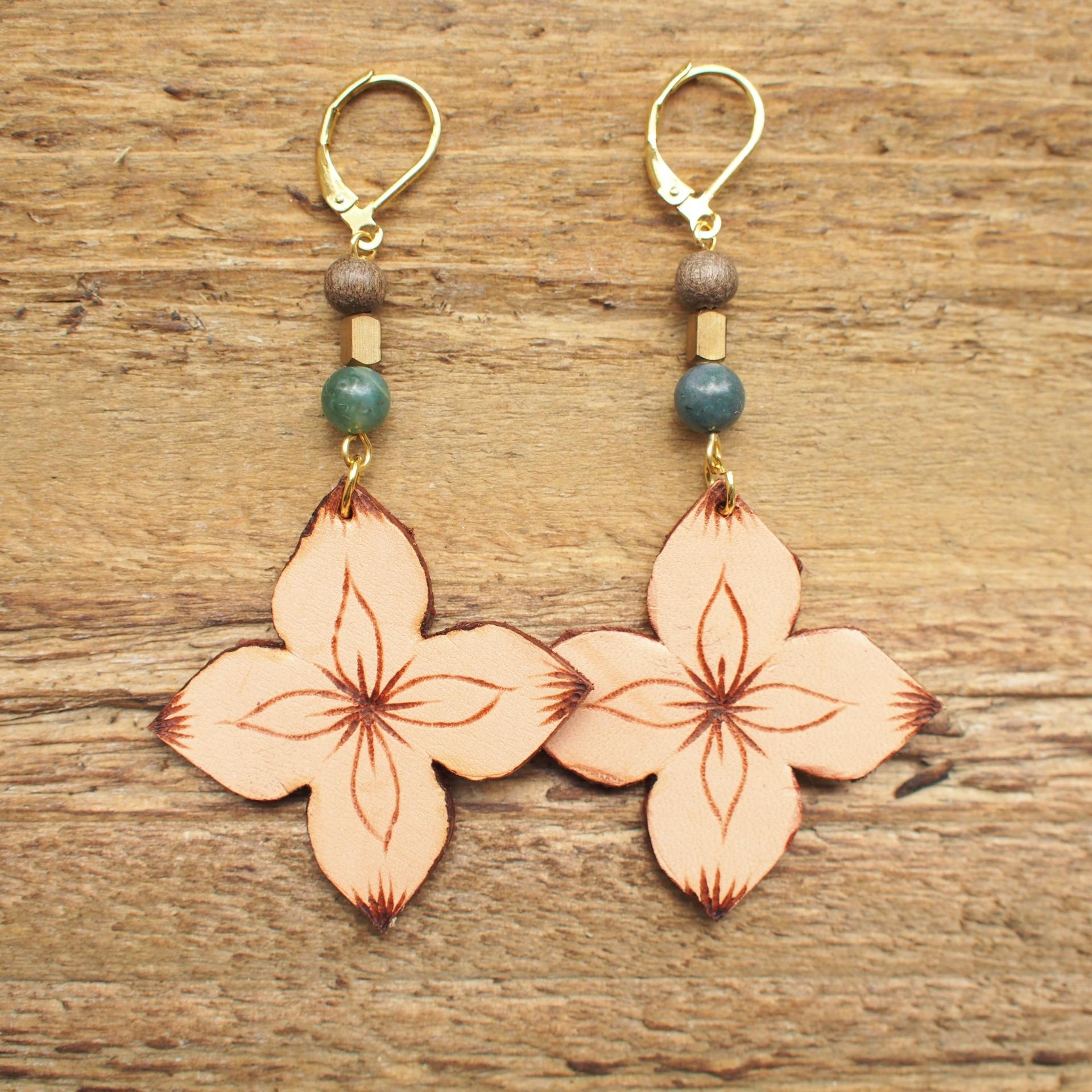 Leather Flower Pierce / Beige