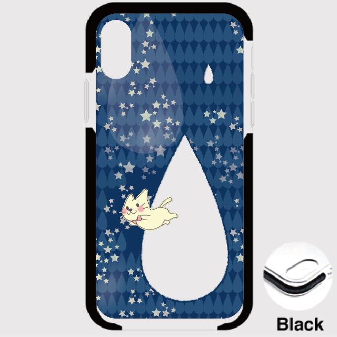 B*iPhone XSMax/8Plus/7Plus*月光雨のねこ*クッションバンパーケース