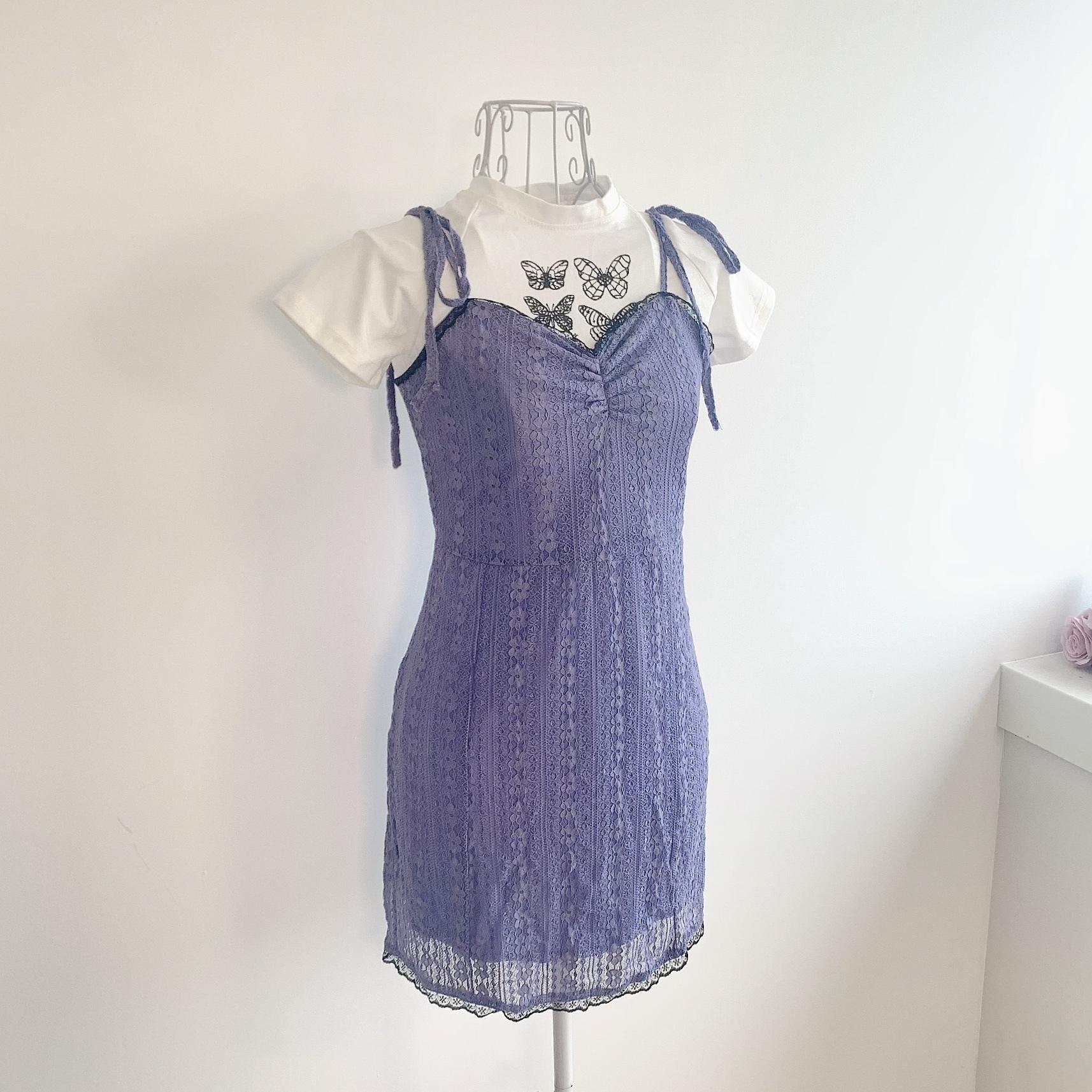 【即納】パープルレースドレス