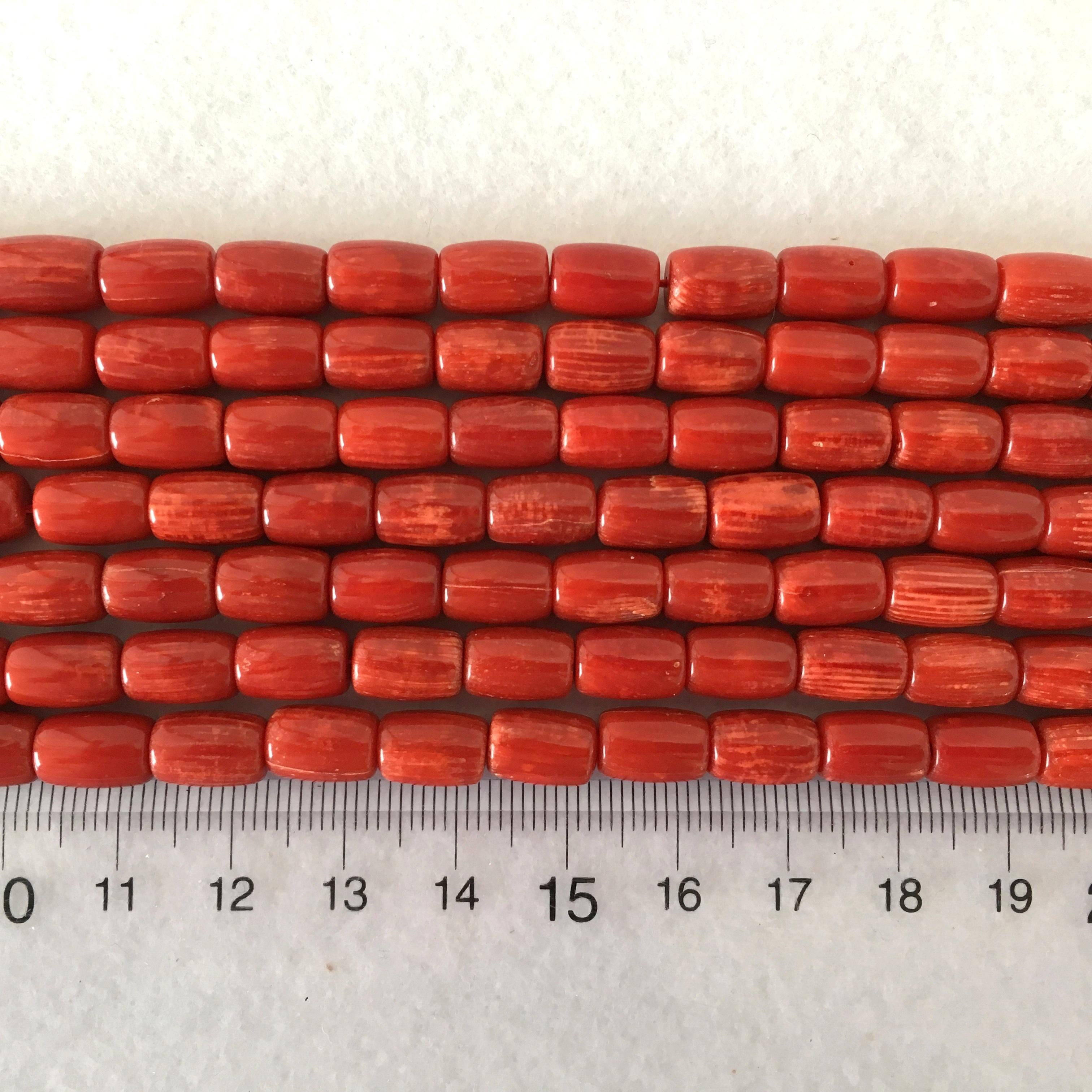赤染サンゴシリンダー型 約10x7㎜ 連材(B級)【193170】