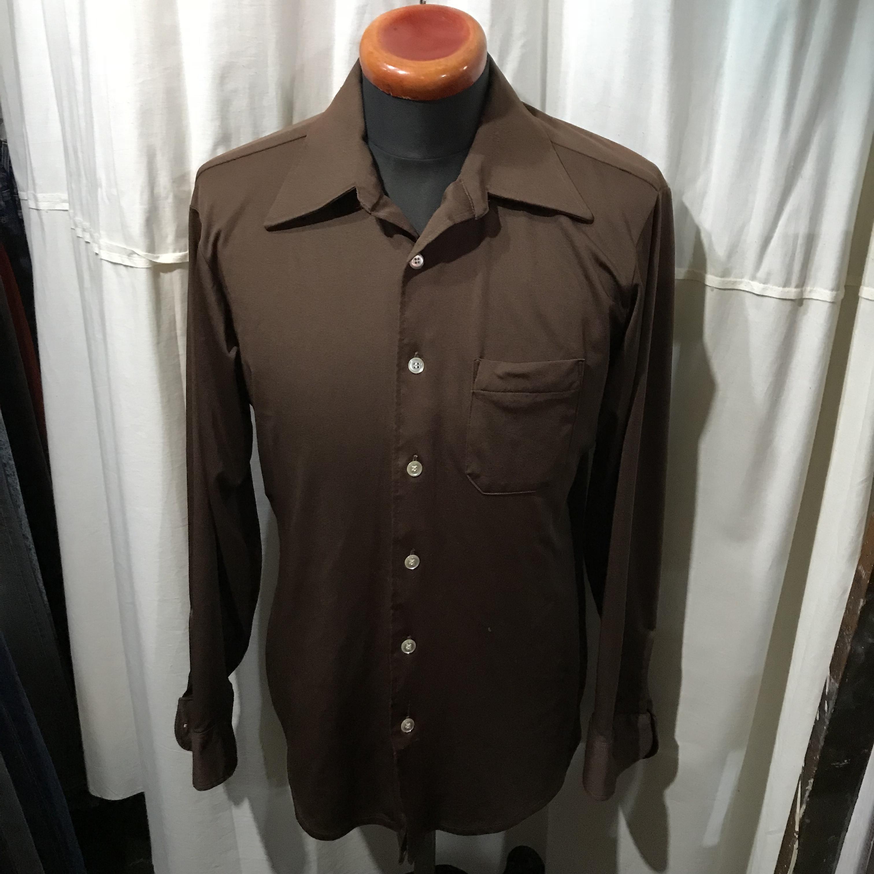 70's vintage オープンカラーシャツ ポリエステル メンズM~L