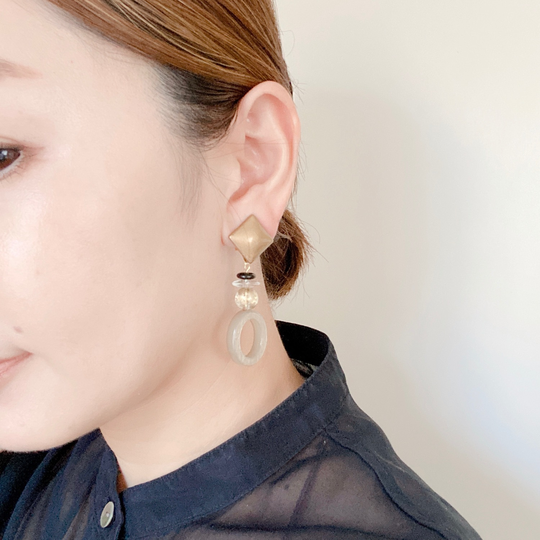 """ Earrings NO.danoan-88″ 漆塗りガラスとイタリアビーズ"