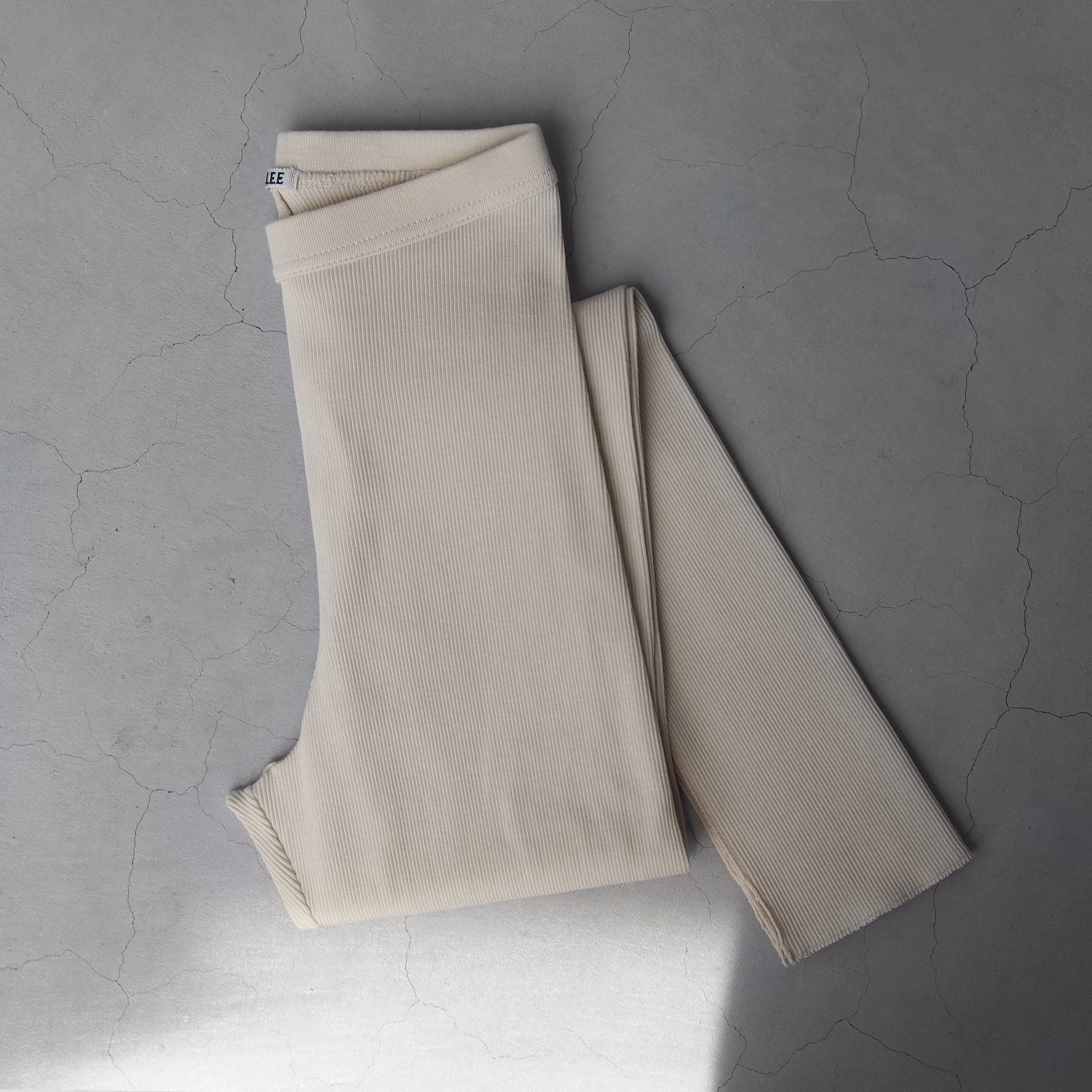 AURALEE HIGH GAUGE RIB SLIT TIGHTS  IVORY