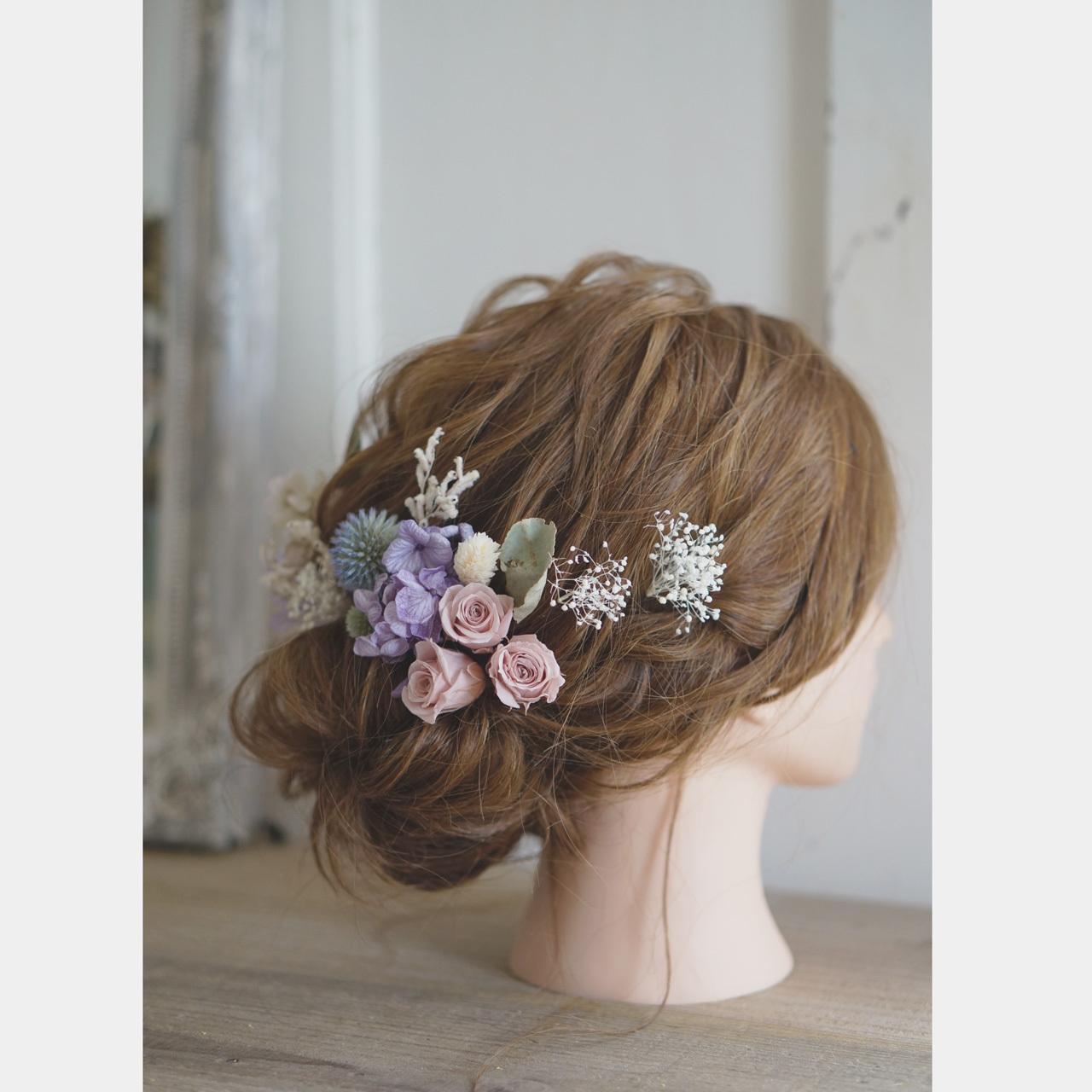 【ヘッドドレス】薄紫アジサイと白いカスミソウとルリタマアザミ