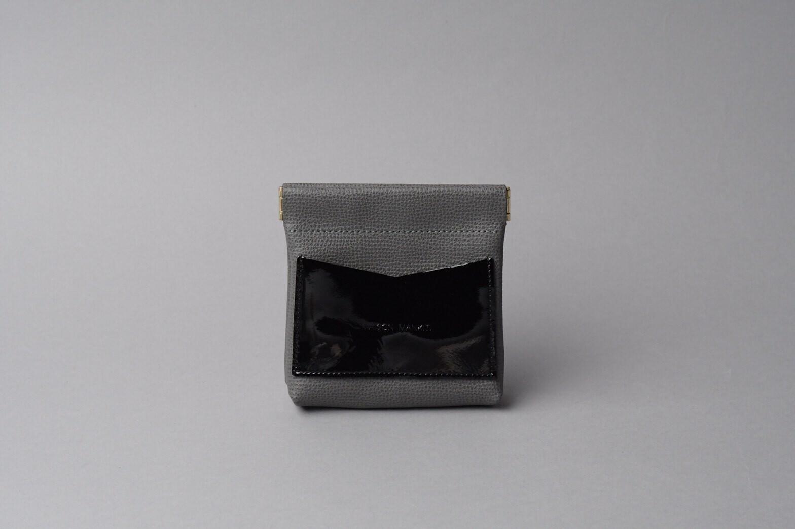 ワンタッチ・コインケース ■ダークグレー・エナメルブラック■ - 画像1