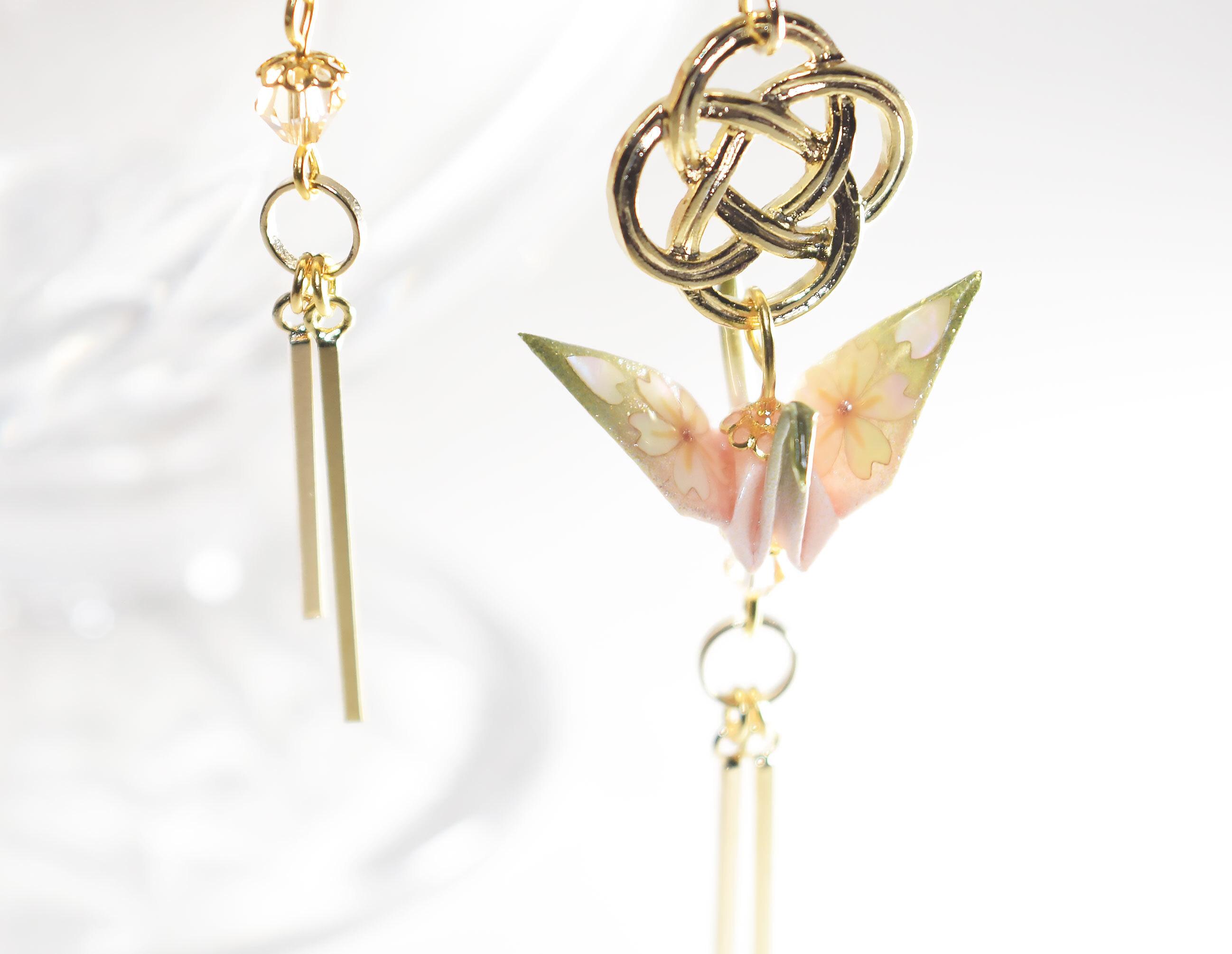 桜螺鈿折り鶴グリーンxピンク