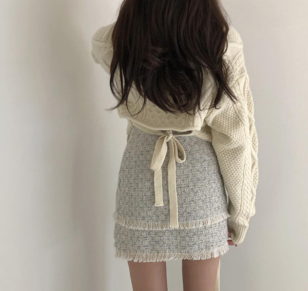 〈カフェシリーズ〉バックリボンニットセーター【Back ribbon knit sweater】