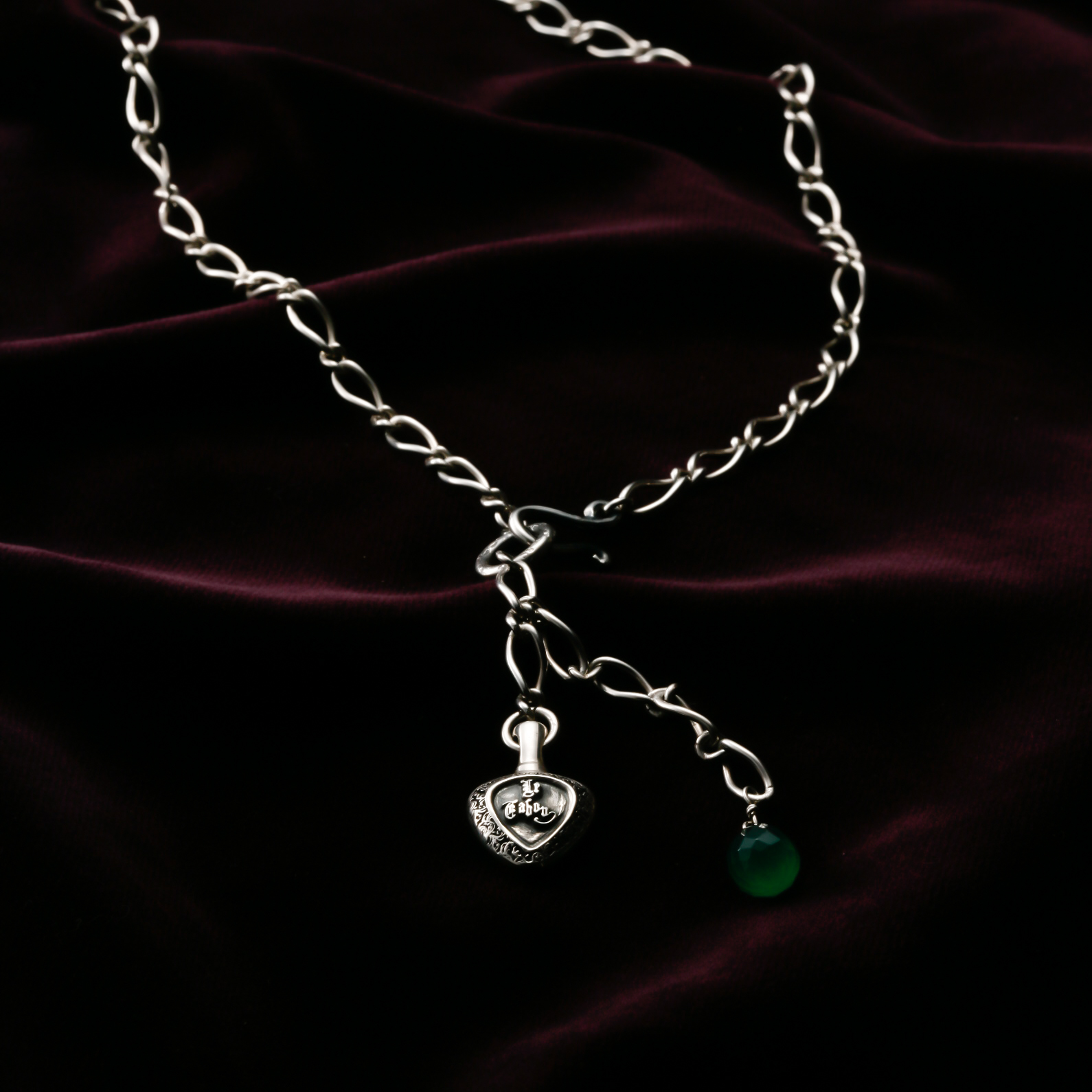 Green Agate  Heart Necklace