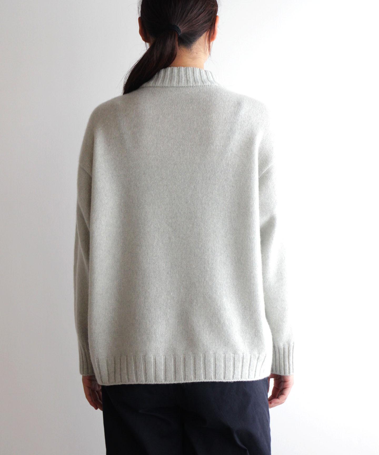 【予約販売】手編み機で編んだカシミヤ糸(NO.18)のセーターsize 02.03 (CAA-922)