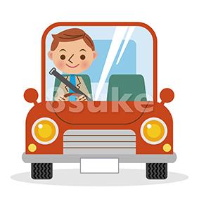 イラスト素材:マイカーでドライブを楽しむ男性(ベクター・JPG)