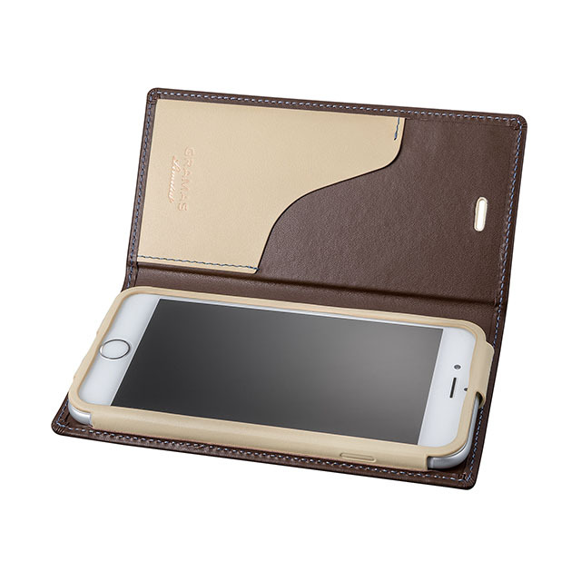 GRAMAS Full Leather Case スマホ堂 Limited for iPhone6s/6 Brown×Cream×Light Blue - 画像1