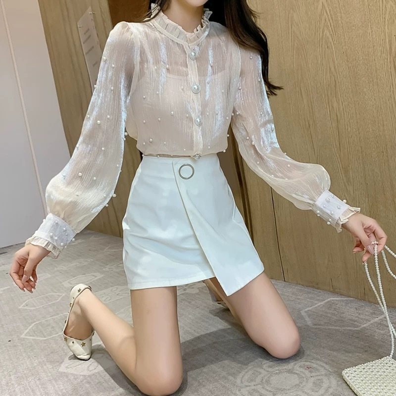 many pearl blouse