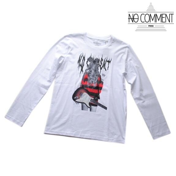 NO COMMENT PARIS ノーコメント パリ Tシャツ 長袖 クルーネック ロンT メンズ 正規販売店 LTN212 ホワイト