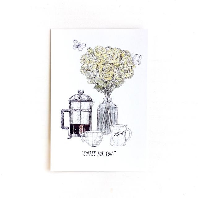 COFFEE FOR YOU  ポストカード (黄色い花)  (酒井マオリ)