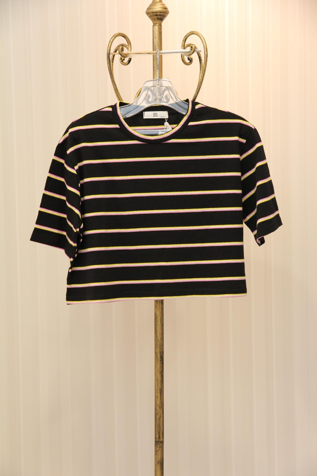 ブラックピンクストライプTシャツ 1-115