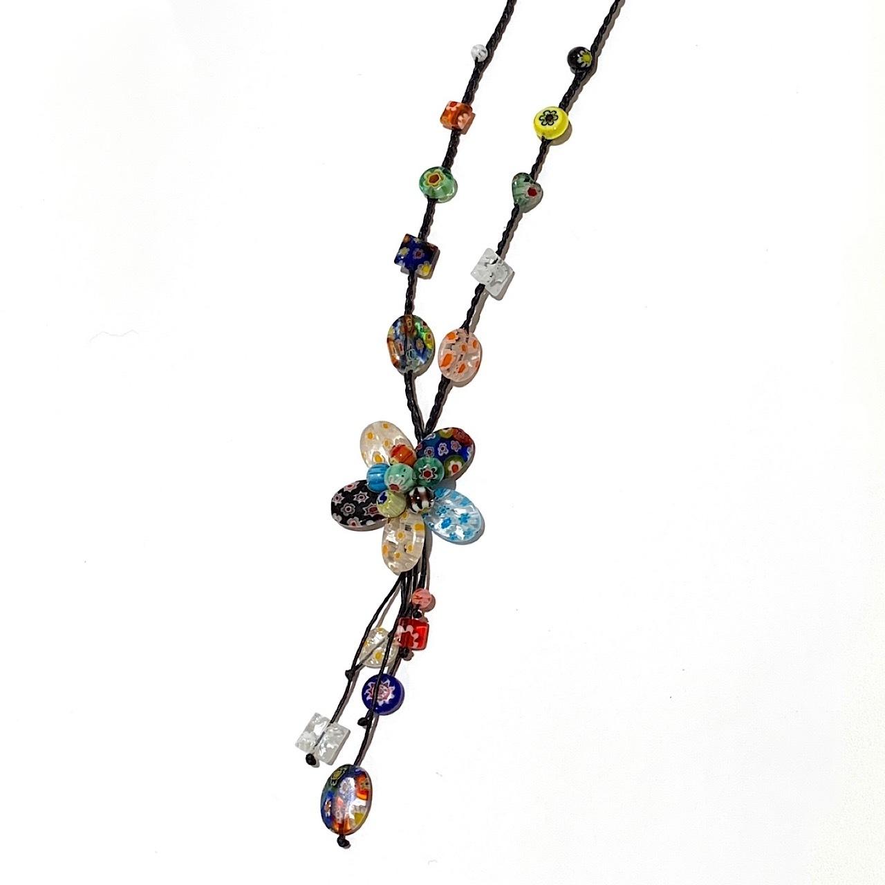 acc-034 ベネチアングラスの花ネックレス