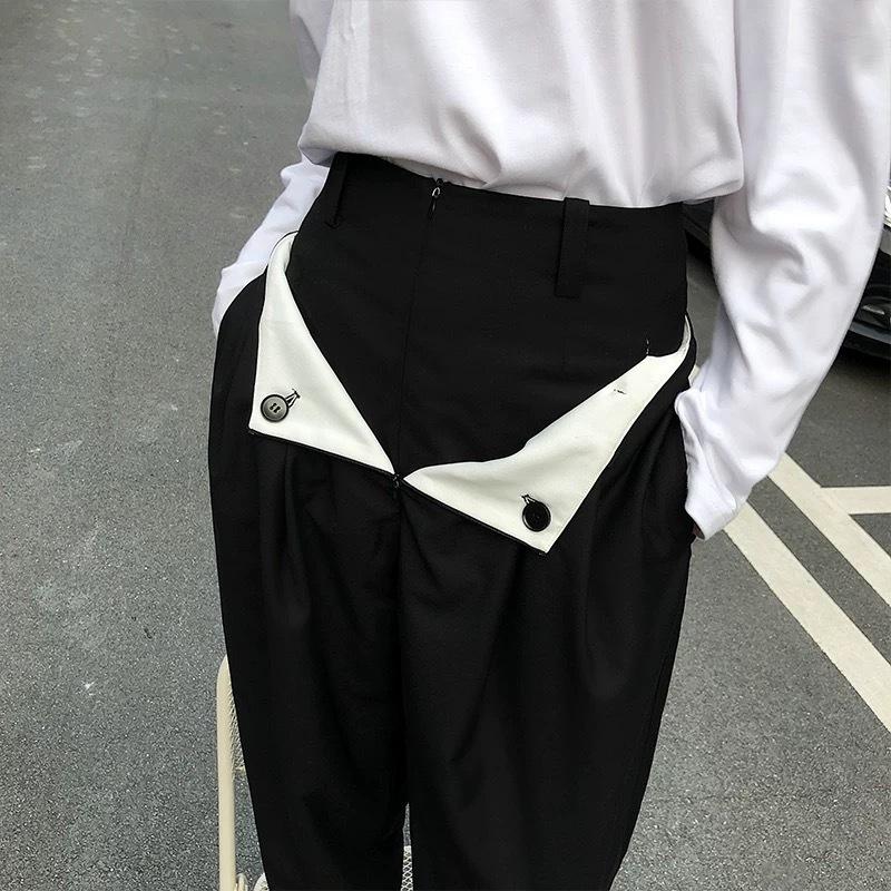 unique pocket loose pants
