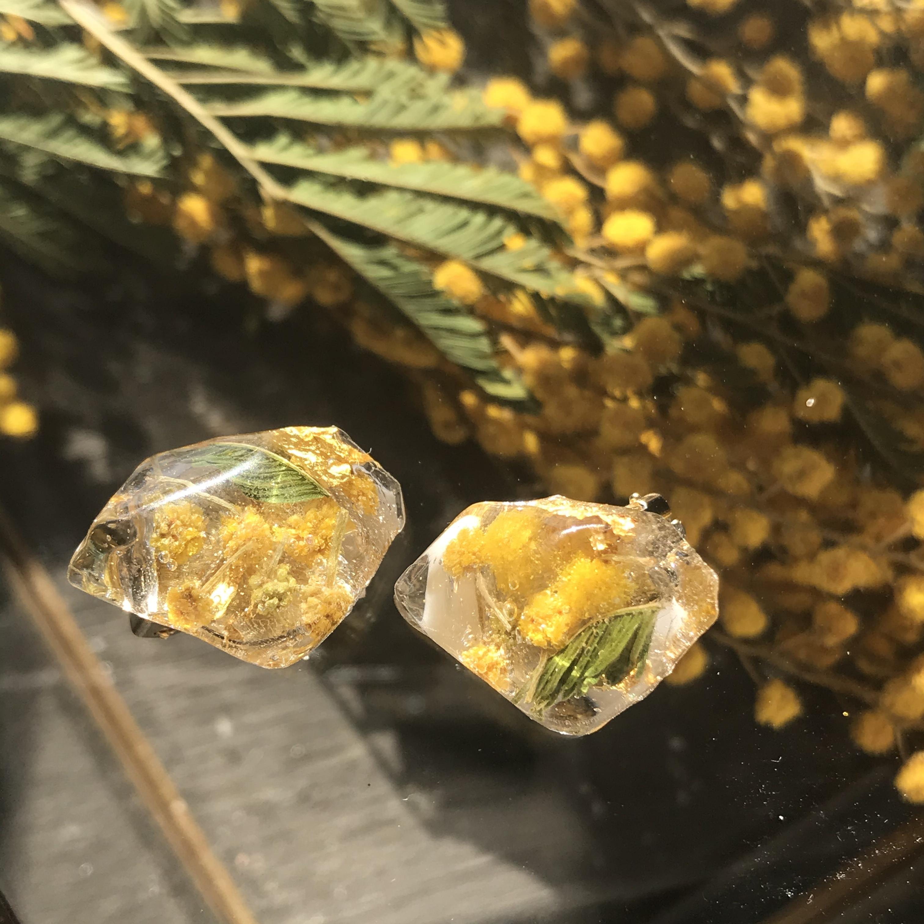 ビタミンカラーのミモザと透明感!春アクセサリーバネイヤリング