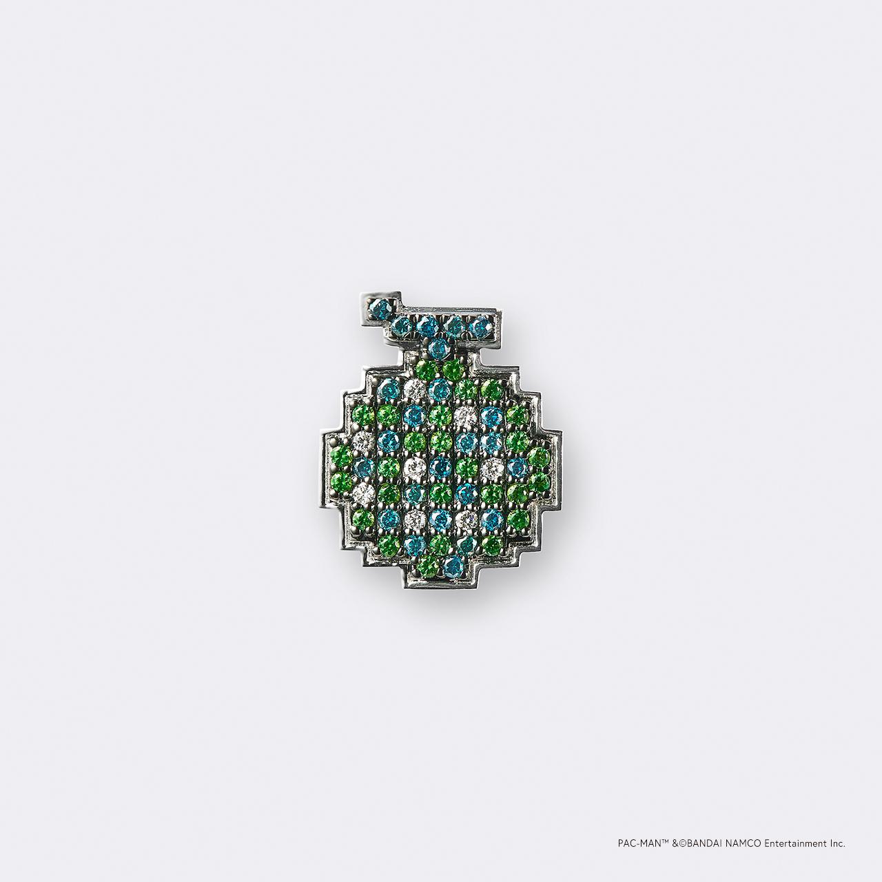 PAC-MAN  (パックマン) K18WG・ボーナスフルーツ メロン/グリーンガーネット ダイヤモンドピンバッジ