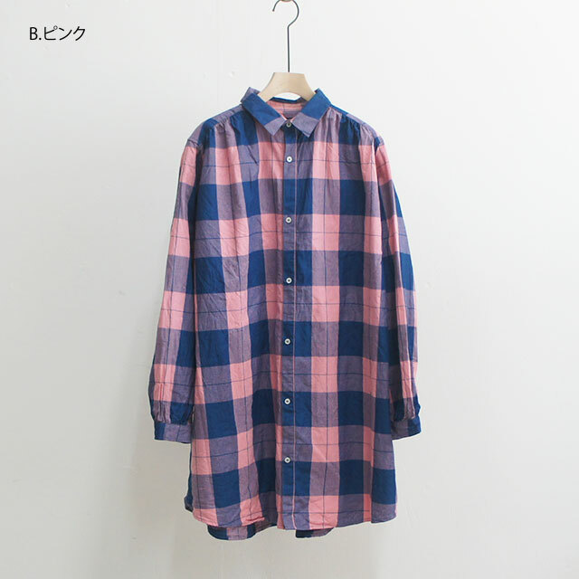 【再入荷なし】 ichi イチ インディゴチェックチュニックシャツ (品番190420)