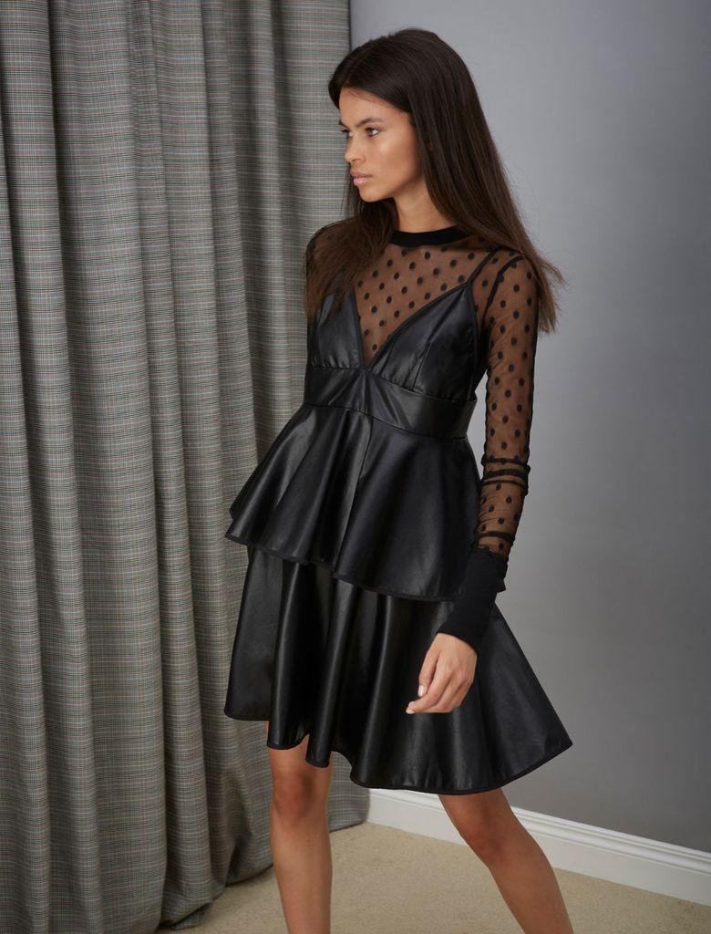 GHOSPELL PU Strap Dress