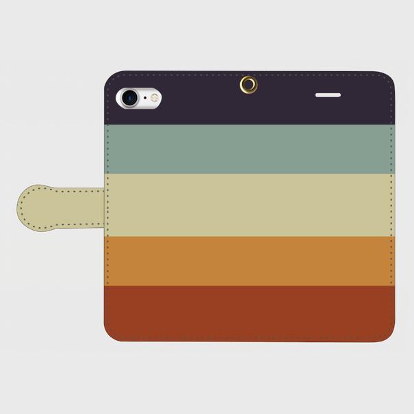 レトロストライプ(紺・水・薄緑・橙・赤) / iPhoneスマホケース(手帳型)