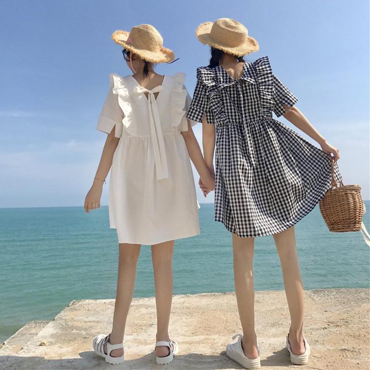 【dress】スウィートリボン飾りプルオーバーカジュアルワンピース17869221